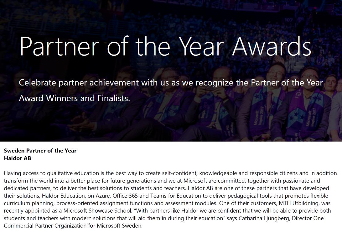 Haldor AB Utsedd Till Microsoft Country Partner Of The Year För Sverige 2018